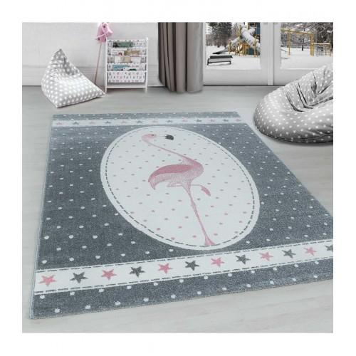 Εφηβικό Χαλί Kids Collection Flamingo Star Grey Pink