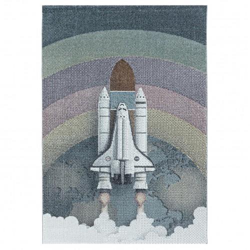 Εφηβικό Χαλί Kids Collection Spaceship Rocket Earth Blue Grey